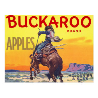 Vintage Fruit Crate Label with a Cowboy on a Horse Post Cards