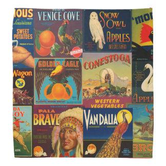Vintage Fruit Crate Labels Bandannas