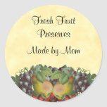 Vintage Fruit Custom Canning Label Classic Round Sticker