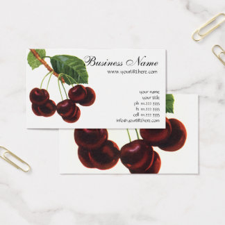 Vintage Fruit Foods, Ripe Cherries from a Tree Business Card