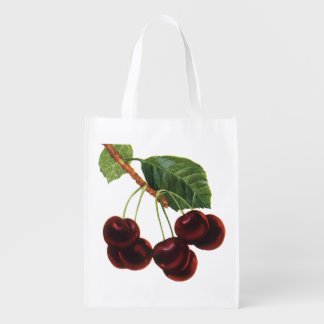 Vintage Fruit Foods, Ripe Cherries from a Tree Grocery Bag