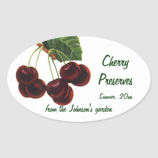 Vintage Fruit Foods, Ripe Cherries from a Tree Oval Sticker