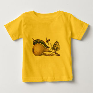 Vintage Fruit Insects Bee Butterfly Caterpillar Baby T-Shirt