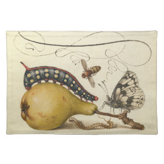 Vintage Fruit Insects Bee Butterfly Caterpillar Cloth Placemat