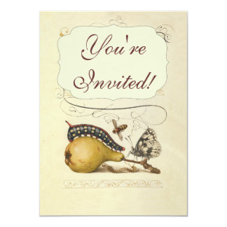 Vintage Fruit Insects Bee Butterfly Caterpillar 4.5x6.25 Paper Invitation Card