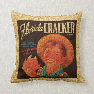 Vintage Fruit Label Florida and Paisano Throw Pillows