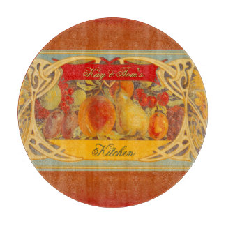 Vintage Fruit Label in Tuscan Colors Cutting Board