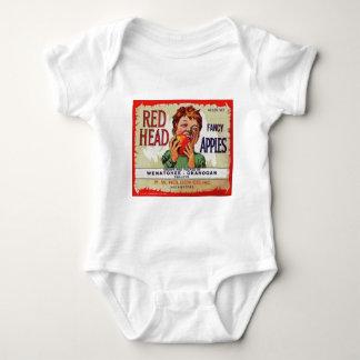 Vintage fruit label - Red Head apples Baby Bodysuit