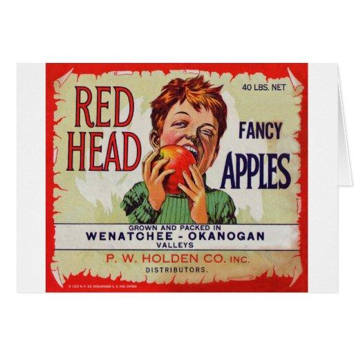 Vintage fruit label - Red Head apples Greeting Card