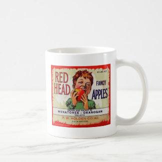 Vintage fruit label - Red Head apples Coffee Mug