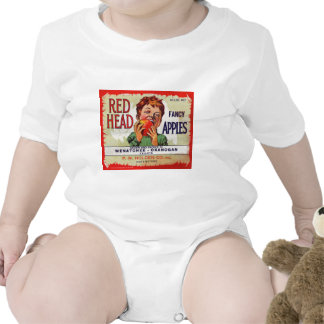 Vintage fruit label - Red Head apples Baby Bodysuits