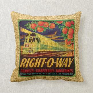 Vintage fruit label Right-O-Way and Suntan citrus Pillows