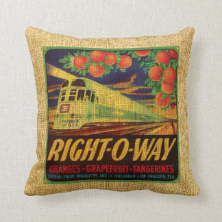 Vintage fruit label Right-O-Way and Suntan citrus Throw Pillow
