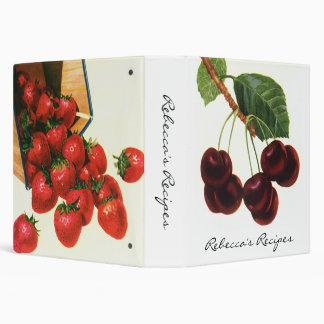 Vintage Fruit; Organic Cherries and Strawberries Vinyl Binder