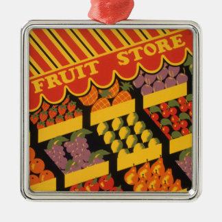 Vintage Fruit Store Metal Ornament