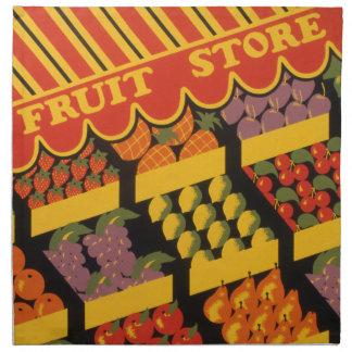 Vintage Fruit Store Printed Napkin