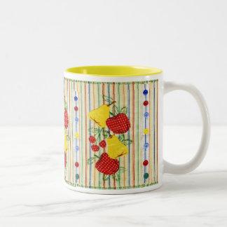 Vintage Fruit,Stripes,Buttons Kitchen Textile Mug