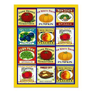 Vintage Fruit Veggie Labels Blank Party Invitation