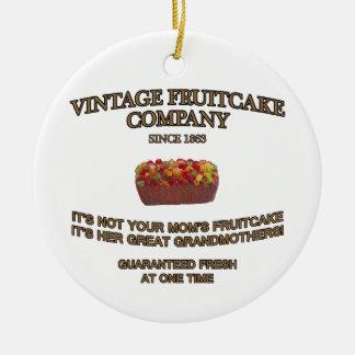 Vintage Fruitcake Company Adorno Navideño Redondo De Cerámica