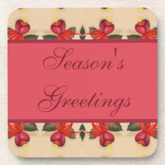 Vintage Fuchsia Floral Holiday Season's Greetings Drink Coaster