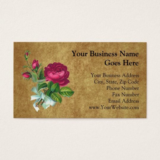 Vintage Fuchsia Rose Business Card