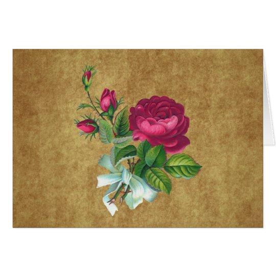 Vintage Fuchsia Rose Card
