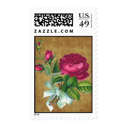 Vintage Fuchsia Rose Postage