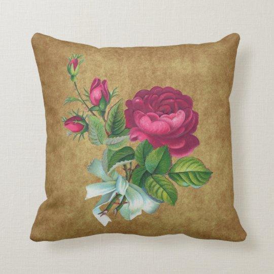 Vintage Fuchsia Rose Throw Pillow