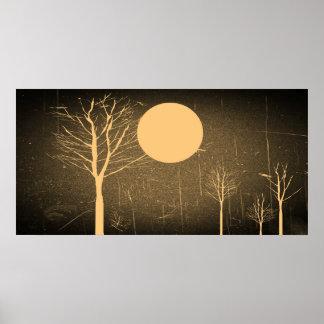 Vintage Full Moon Night Poster