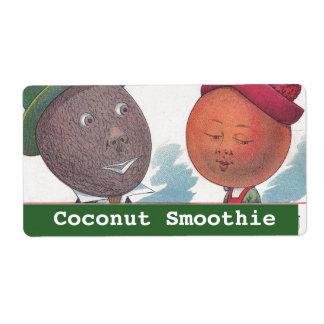 Vintage Fun Anthropomorphic Coconut Smoothie Label Shipping Label