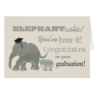 Vintage Fun Elephant Graduation Typographic Card
