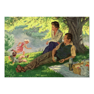 "Vintage Fun Family Picnic Under a Shade Tree 5"" X 7"" Invitation Card"