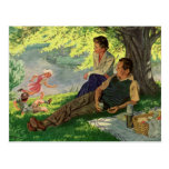 Vintage Fun Family Picnic Under a Shade Tree Postcard