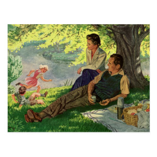 Vintage Fun Family Picnic Under a Shade Tree Postcard