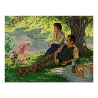 Vintage Fun Family Picnic Under a Shade Tree Poster