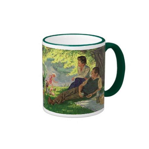 Vintage Fun Family Picnic Under a Shade Tree Ringer Coffee Mug