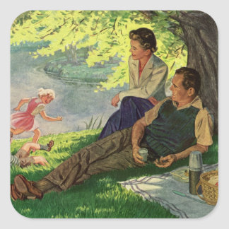 Vintage Fun Family Picnic Under a Shade Tree Square Sticker