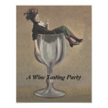 Vintage Fun Lady in Wine Glass Party Invitations