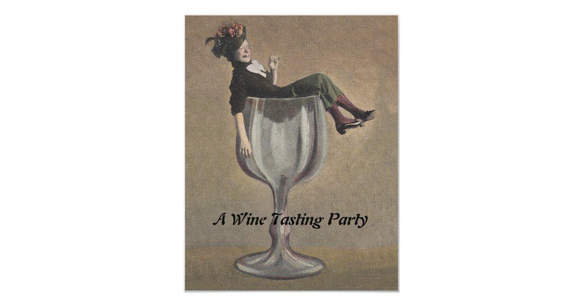 Funny wine invitations announcements zazzle vintage fun lady in wine glass party invitations stopboris Gallery