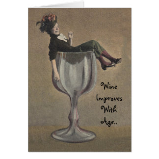 Vintage Fun Note Card Humor Lady in Wine Glass