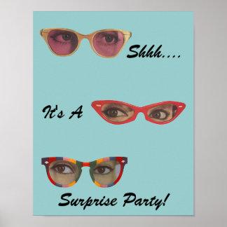 Vintage Fun Retro Discreet Surprise Party Poster