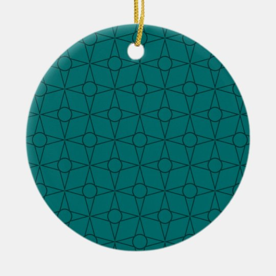 Vintage Funk Christmas Ornament, Teal Ceramic Ornament