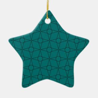 Vintage Funk Star Ornament, Teal Ceramic Ornament