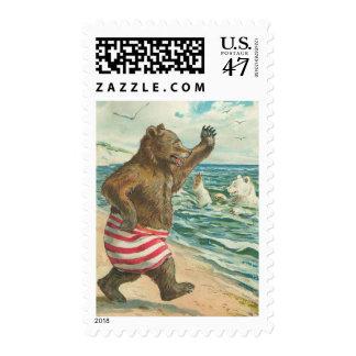 Vintage Funny Bear Postage