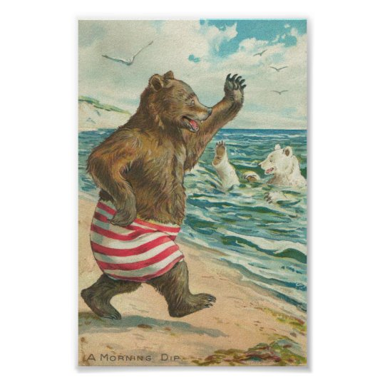 Vintage Funny Bears Poster