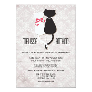 Vintage Funny Cat Couple Damask Wedding Invite