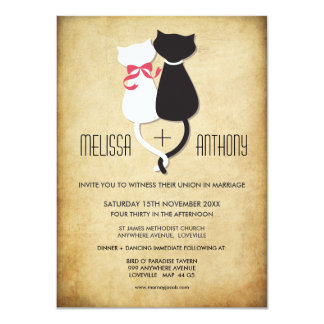 Vintage Funny Cats Couple Wedding Invitation