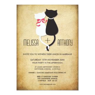 "Vintage Funny Cats Couple Wedding Invitation 4.5"" X 6.25"" Invitation Card"