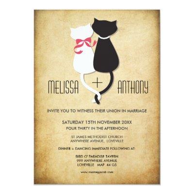 Vintage Funny Cats Couple Wedding Invitation