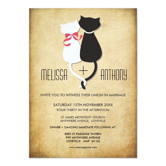 Wedding Reception Ideas For Older Couples: Vintage Funny Cats Couple Wedding Invitation